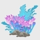 Bouquet Of Blue And Pink Coral, Underwater Set