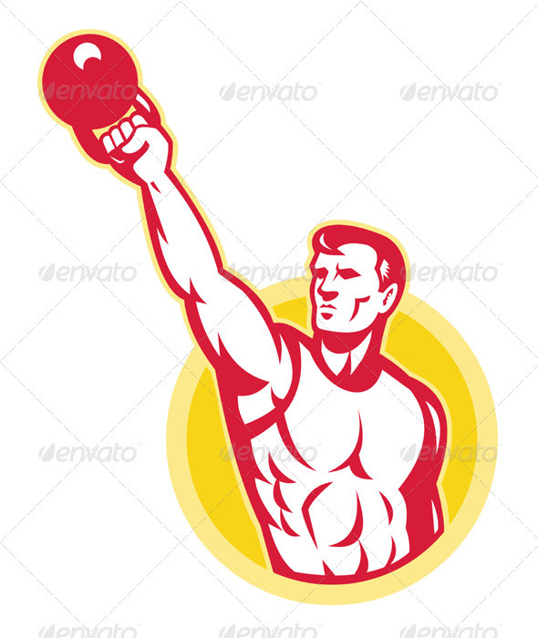 Graphic River Kettlebell Exercise Weight Training Retro Vectors -  Characters  People 1558334