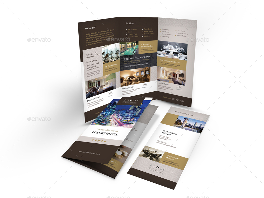 Hotel trifold brochure 5 by mike pantone graphicriver for Designhotel unna