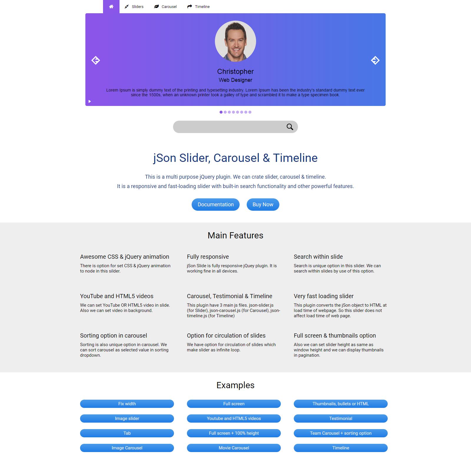 json slider carousel timeline responsive jquery plugin