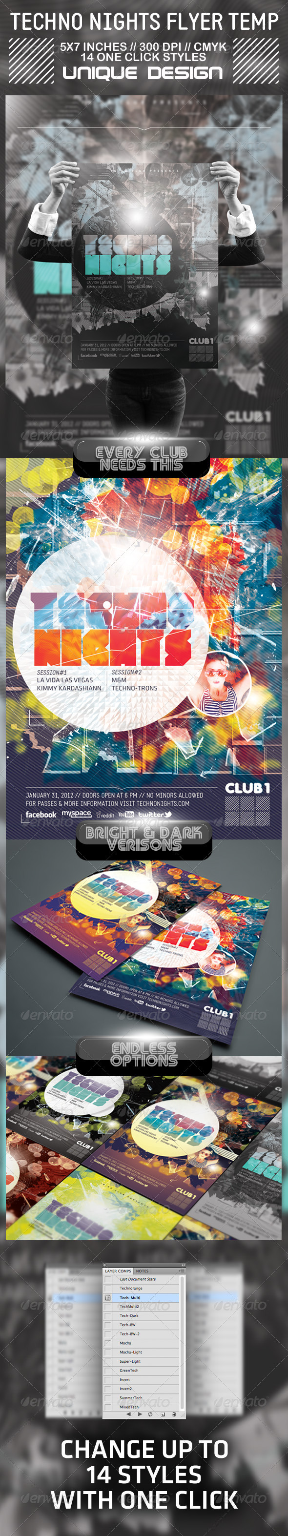 Techno Nights Flyer - Clubs & Parties Events