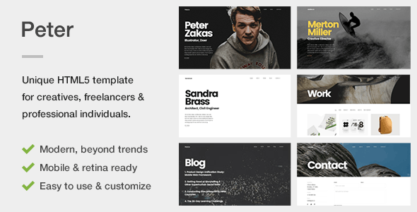 Peter - A Unique Portfolio Template for Creatives, Freelancers & Professional Individuals