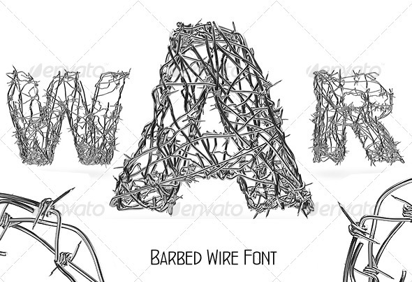 Barbed Wire Font - Characters 3D Renders