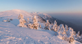 Winter fairy tale at sunset in the mountains