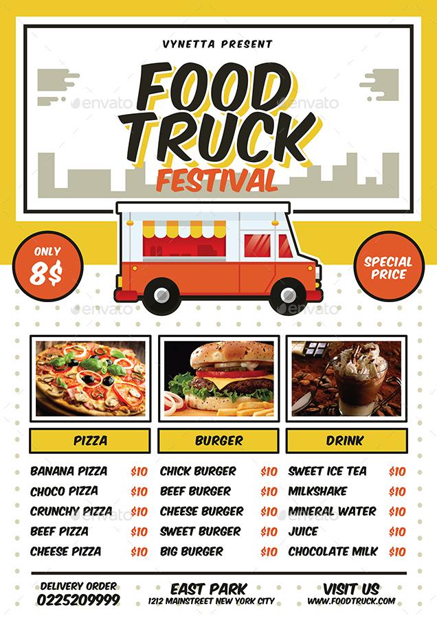 Food Truck Festival Poster Flyer Menu By Vynetta