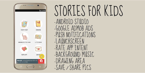 Histórias para crianças - Aplicativo Android Studio com Admob - Item CodeCanyon à venda