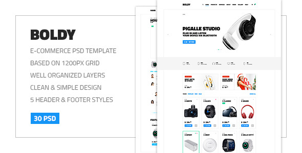 Boldy — Multipurpose Clean and Simple eCommerce PSD Theme