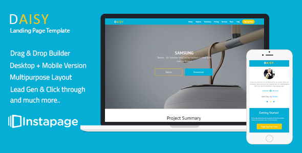 Download Daisy - Instapage Onepage Template nulled download