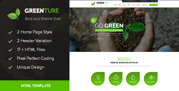 Image of Greenture - Environment / Non-Profit HTML Template