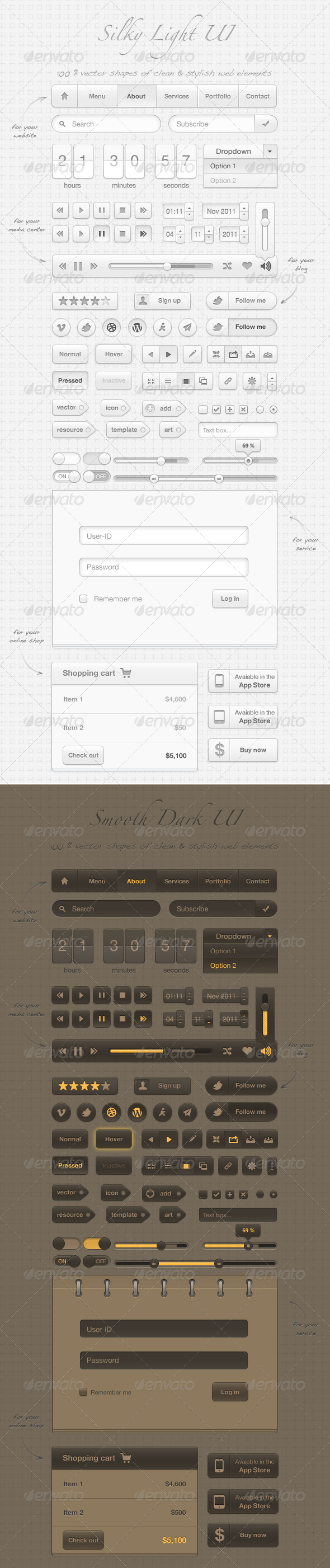 GraphicRiver Silky User Interface 100% vector arts 861173