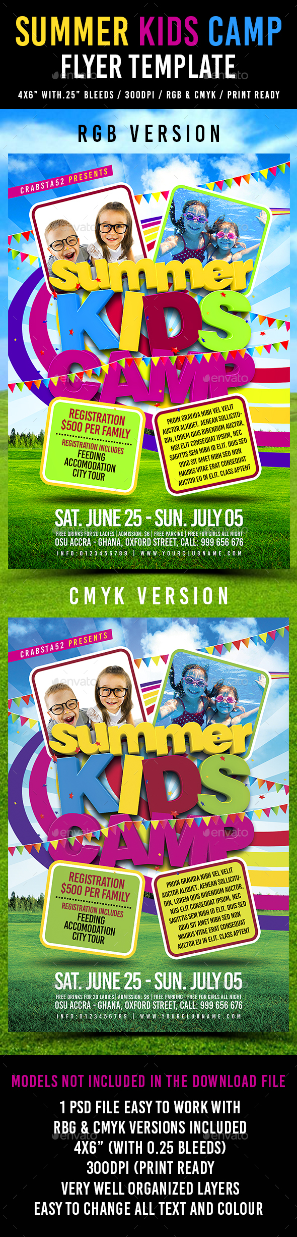 Summer Kids Camp Flyer Template