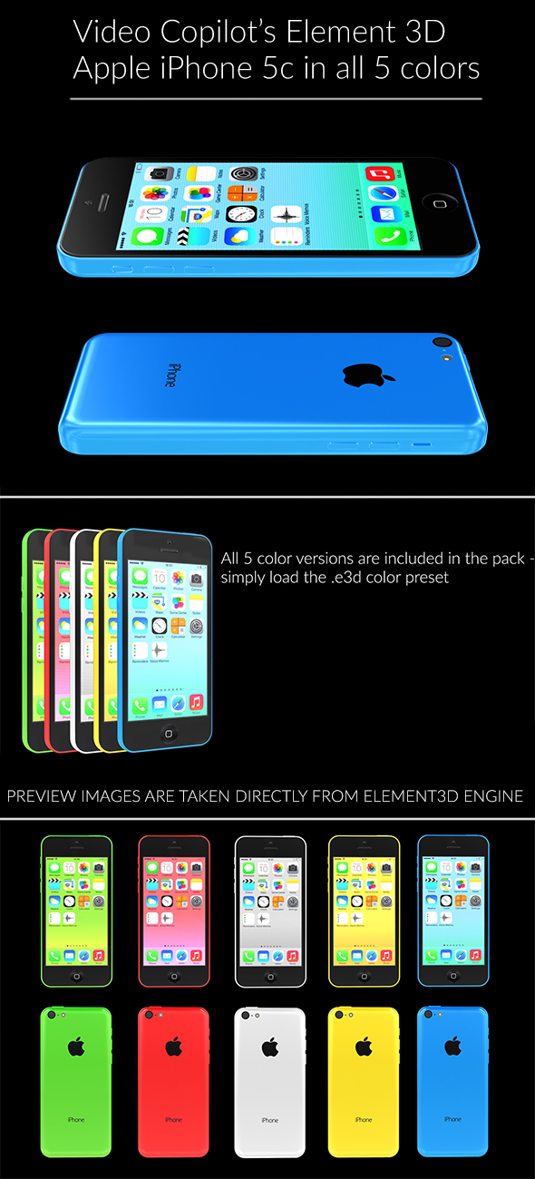 Element3D - iPhone 5c - 3DOcean Item for Sale