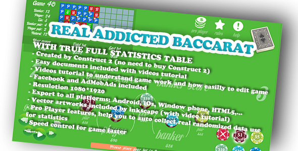 Real Baccarat with excellent statistics feature (Facebook & Admod supported) - CodeCanyon Item for Sale