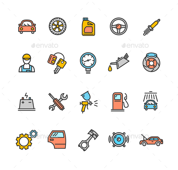 Car Service Icon Color Set