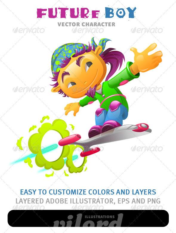 Future Boy Mascot - Characters Vectors