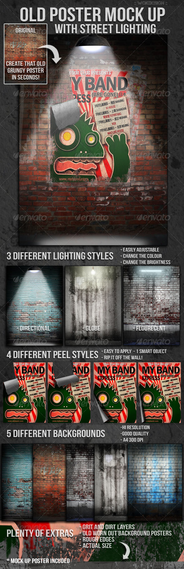 GraphicRiver Old Poster Mock Up with Street Lighting 1566026