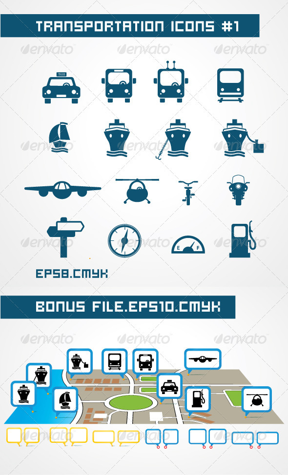 GraphicRiver Tranportation icons 1566054