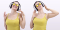 happy woman listening to music on headphones and wearing sunglasses
