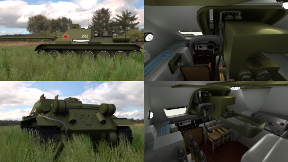 SU 100 with Interior HDRI - 3DOcean Item for Sale