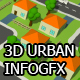 Urban 3D infographics backgrounds