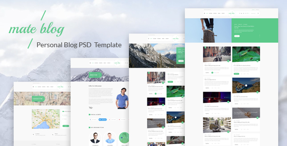Mate Blog - Material Design Personal Blog PSD Template