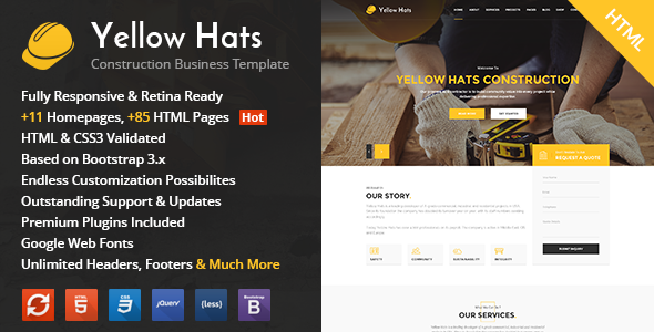 Yellow Hats - Construction, Building & Renovation HTML Template
