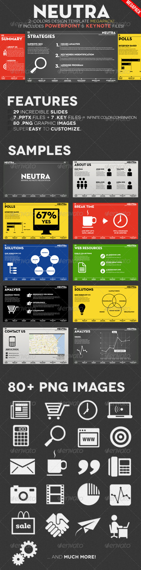 Neutra - Two Colors PowerPoint & Keynote Pack - Presentation Templates
