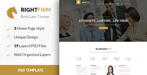 RIGHTFIRM - Law & Business PSD Template