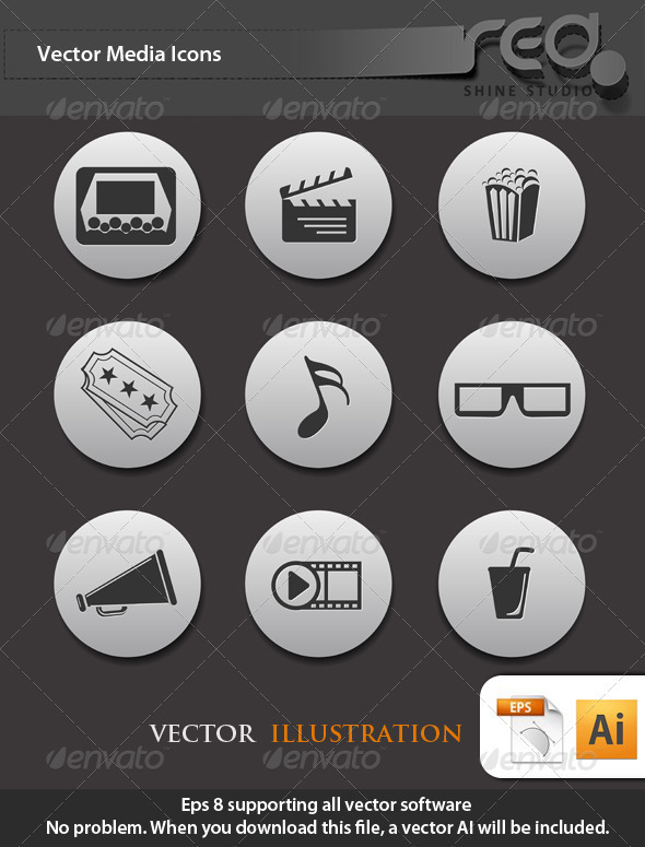 GraphicRiver Media Icon Vector Pack 1567535