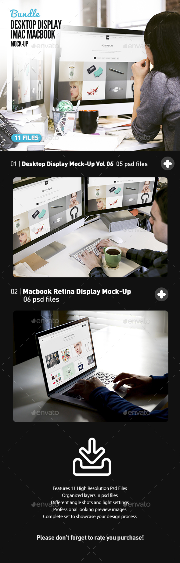 Desktop Screen Work Display Mock-Up Bundle All-in-One (Displays)