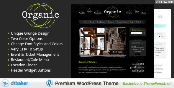 4 - Organic Grunge Cafe - WordPress