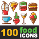 100 Food Icons Line and Colorful