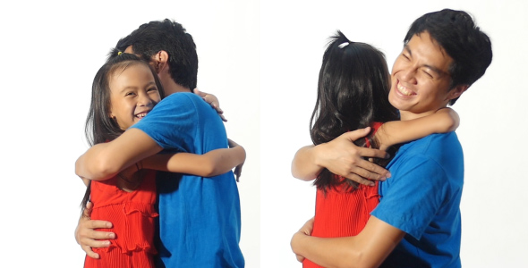 Asian Father And Daughter Hugging by yoycg | VideoHive