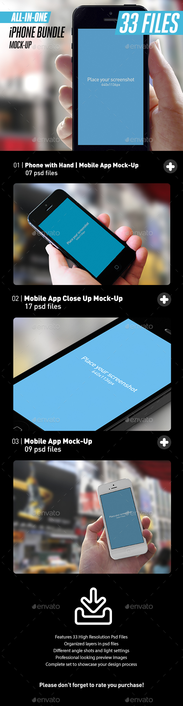 All-in-One App UI Close-Up White iPhone Mock-Up Bundle
