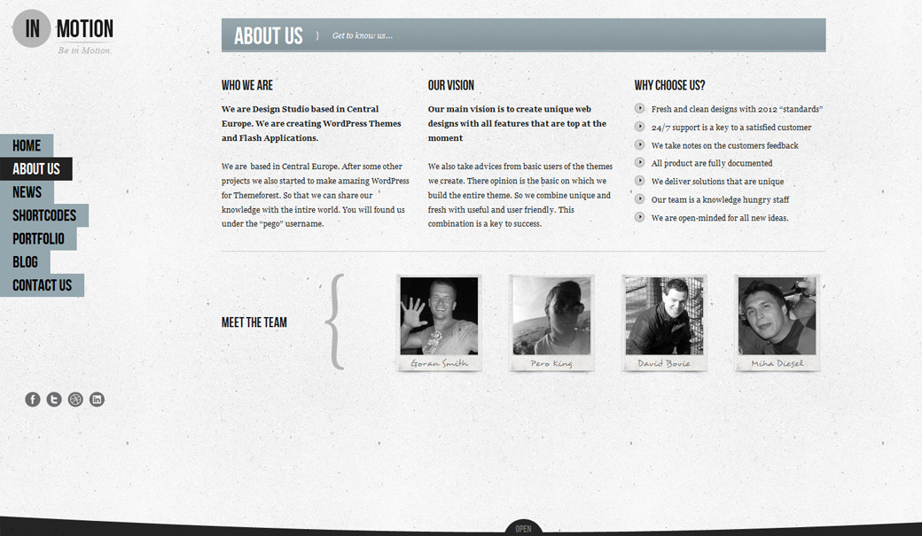 IN-MOTION Wordpress One page slide - Portfolio Page