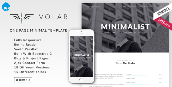 Volar | One Page Minimal Parallax Drupal Theme