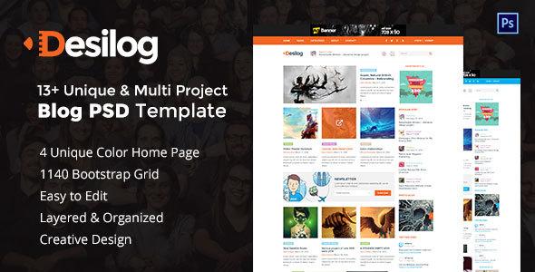 Desilog - Blog and File Resource PSD Template