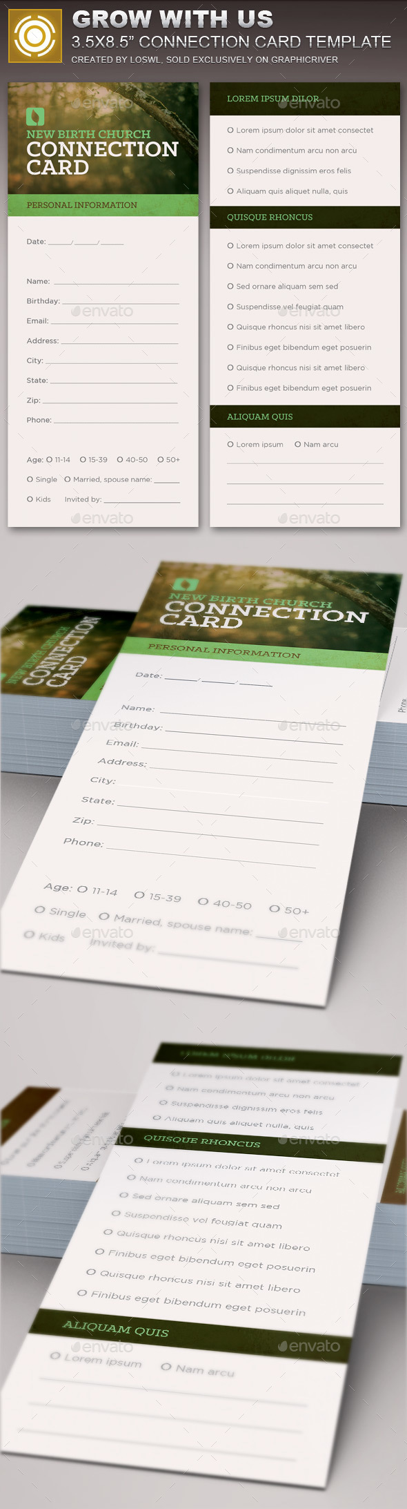 Stationery and Design Templates with Print Dimensions: 3.5x8.5