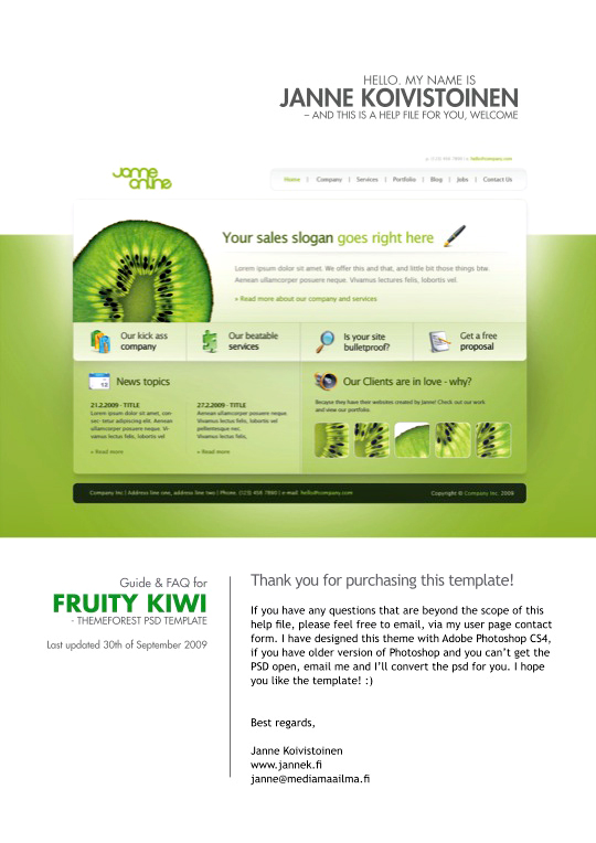 Fruity Kiwi - PSD Template
