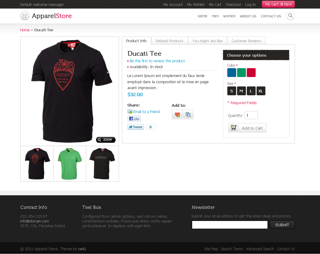 Apparel Store Magento theme - Apparel product view