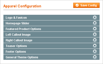 Apparel Store Magento theme - Apparel Admin options