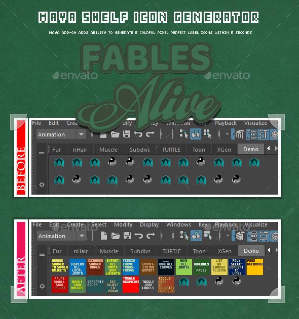 3DOcean Maya Shelf Label Icon Generator readable colorful maya shelf icons within 5 sec 15675996