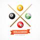 Billiard Balls Concept with Cue