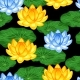 Natural Seamless Pattern with Lotus Flowers