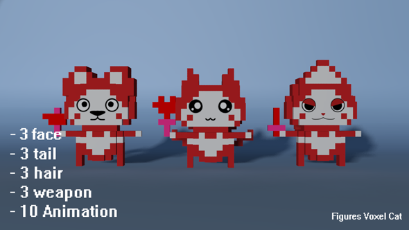 3DOcean Figures Voxel Cat 15699248