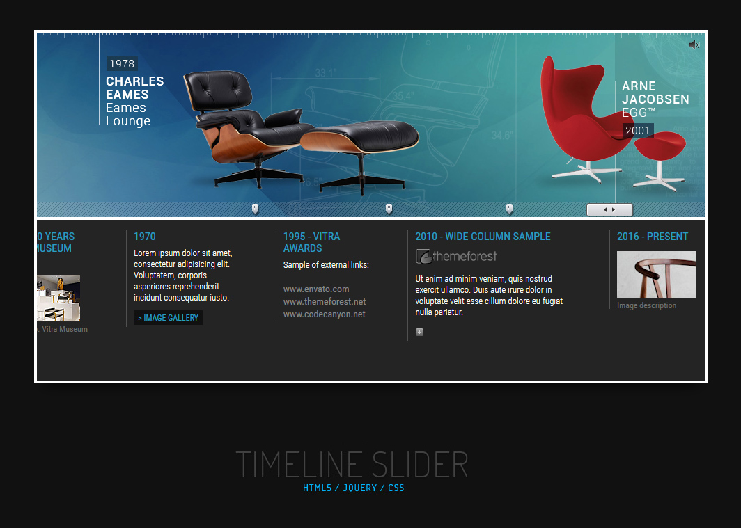 jQuery Responsive Timeline Slider by pezflash – Sample Advertising Timeline