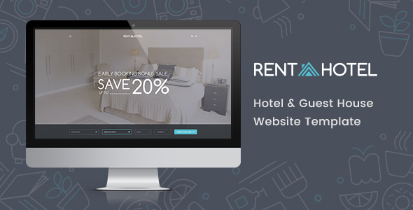 Rent a Hotel - Hostel & Guest House Booking Website PSD Template