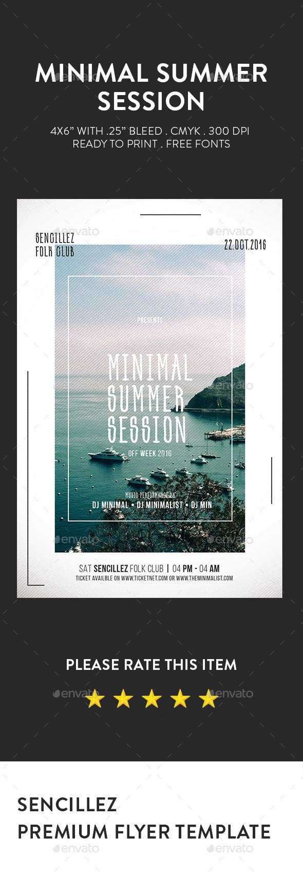 Minimal Summer Session Flyer
