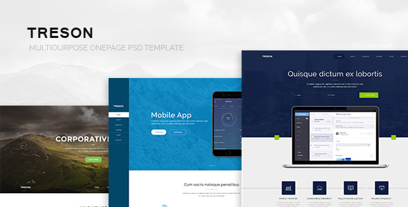 Treson - One Page Agency, App, Startup PSD Template