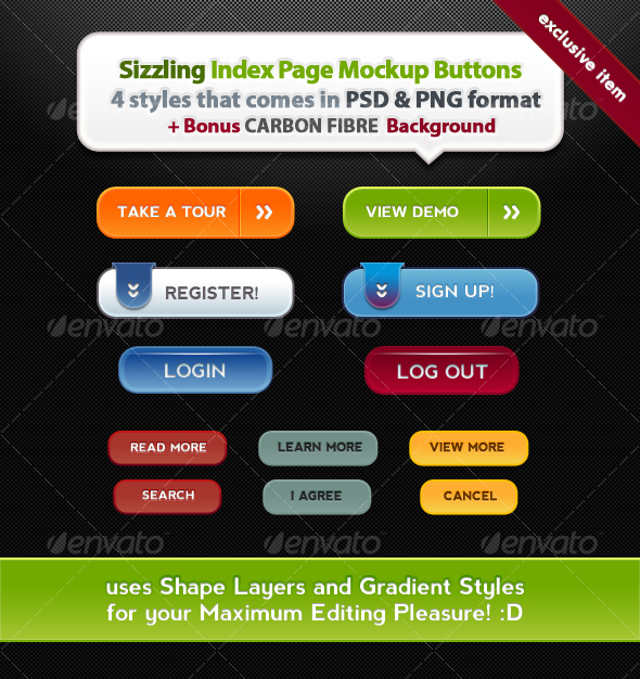 Sizzling Index Page Mockup Buttons - Buttons Web Elements
